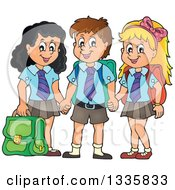 Cartoon Happy School Children Wearing Uniforms And Holding Hands