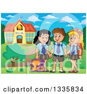 Clipart Of Cartoon Happy School Children Wearing Uniforms And Holding Hands In Front Of A Building Royalty Free Vector Illustration