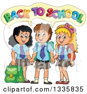 Clipart Of Cartoon Happy Children Wearing Student Uniforms And Holding Hands Saying Back To School Royalty Free Vector Illustration
