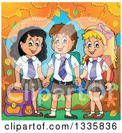 Clipart Of Cartoon Happy School Children Wearing Uniforms And Holding Hands By Autumn Trees Royalty Free Vector Illustration