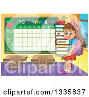 Clipart Of A Cartoon Happy Brunette Caucasian School Girl Carrying An Apple And A Stack Of Books In A Class Room With A Time Table Royalty Free Vector Illustration by visekart