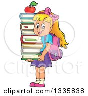 Clipart Of A Cartoon Happy Blond Caucasian School Girl Carrying An Apple And A Stack Of Books Royalty Free Vector Illustration