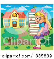 Clipart Of A Cartoon Happy Blond Caucasian Girl Carrying An Apple And A Stack Of Books By A School Building Royalty Free Vector Illustration