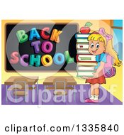Clipart Of A Cartoon Happy Blond Caucasian Student Girl Carrying An Apple And A Stack Of Books By A Black Board With A Back To School Greeting Royalty Free Vector Illustration
