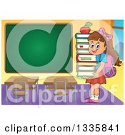 Clipart Of A Cartoon Happy Brunette Caucasian School Girl Carrying An Apple And A Stack Of Books In A Class Room With A Blank Chalk Board Royalty Free Vector Illustration