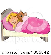 Cartoon Happy Blond Caucasian Girl Sleeping And Dreaming In Bed With A Teddy Bear