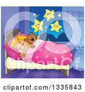 Clipart Of A Cartoon Happy Blond Caucasian Girl Sleeping And Dreaming In Bed With A Teddy Bear With Stars In View From The Window Royalty Free Vector Illustration