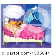 Clipart Of A Cartoon Happy Blond Caucasian Girl Sleeping And Dreaming In Bed With A Teddy Bear With A Cloud Royalty Free Vector Illustration by visekart