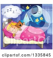 Clipart Of A Cartoon Happy Blond Caucasian Girl Sleeping And Dreaming In Bed With A Teddy Bear With A Crescent Moon And Stars Royalty Free Vector Illustration by visekart