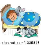 Cartoon Dog Sleeping By A Brunette Caucasian Boy In Bed With A Teddy Bear