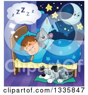 Clipart Of A Cartoon Dog Sleeping By A Brunette Caucasian Boy In Bed With A Teddy Bear With A Crescent Moon And Stars Royalty Free Vector Illustration by visekart