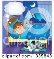 Clipart Of A Cartoon Dog Sleeping By A Dreaming Brunette Caucasian Boy In Bed With A Teddy Bear Royalty Free Vector Illustration by visekart