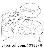 Clipart Of A Cartoon Black And White Happy Girl Sleeping And Dreaming In Bed With A Teddy Bear Royalty Free Vector Illustration by visekart