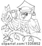 Clipart Of A Black And White Cartoon Professor Owl Holding A Book And Ringing A Bell On A Branch Royalty Free Vector Illustration