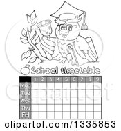Clipart Of A Grayscale Cartoon Professor Owl Holding A Book And Ringing A Bell On A Branch Over A Time Table Royalty Free Vector Illustration by visekart