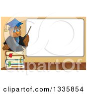 Clipart Of A Cartoon Professor Owl On A Stack Of Books Holding A Pointer Stick To A Blank White Board Royalty Free Vector Illustration