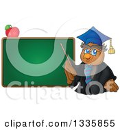 Clipart Of A Cartoon Professor Owl Holding A Pointer Stick To A Blank Green Chalk Board With An Apple Royalty Free Vector Illustration