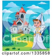 Clipart Of A Cartoon Happy Medieval Princess Strolling By A Castle During The Day Royalty Free Vector Illustration by visekart