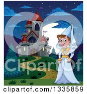 Clipart Of A Cartoon Happy Medieval Princess Strolling By A Castle At Night Royalty Free Vector Illustration by visekart
