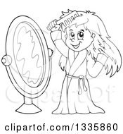 Clipart Of A Cartoon Black And White Happy Girl In A Robe Combing Her Hair In Front Of A Mirror Royalty Free Vector Illustration