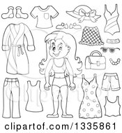 Clipart Of A Cartoon Black And White Happy Girl In Her Underwear Surrounded By Summer Clothing Items Royalty Free Vector Illustration