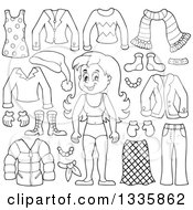 Clipart Of A Cartoon Black And White Happy Girl In Her Underwear Surrounded By Winter Clothing Items Royalty Free Vector Illustration by visekart