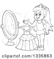 Clipart Of A Cartoon Black And White Happy Girl Holding A Dress On A Hanger In Front Of A Mirror Royalty Free Vector Illustration