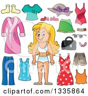 Clipart Of A Cartoon Happy Blond White Girl In Her Underwear Surrounded By Summer Clothing Items Royalty Free Vector Illustration