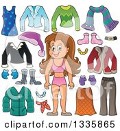 Clipart Of A Cartoon Happy Brunette White Girl In Her Underwear Surrounded By Winter Clothing Items Royalty Free Vector Illustration by visekart