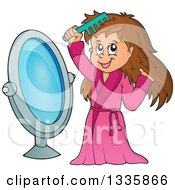 Clipart Of A Cartoon Happy Brunette White Girl In A Robe Combing Her Hair In Front Of A Mirror Royalty Free Vector Illustration by visekart