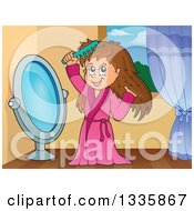 Clipart Of A Cartoon Happy Brunette White Girl In A Robe Combing Her Hair In Front Of A Mirror In Her Room Royalty Free Vector Illustration