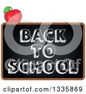 Clipart Of A Cartoon Blackboard With Back To School Text And An Apple Royalty Free Vector Illustration