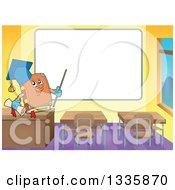 Clipart Of A Cartoon Professor Book And In A Class Room Pointing To A Blank White Board Royalty Free Vector Illustration