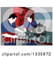 Clipart Of Male Mechanics Going Over Car Engine Parts For Repair In A Garage Royalty Free Vector Illustration by David Rey
