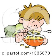 Clipart Of A Cartoon Dirty Blond Caucasian Boy Eating Breakfast Cereal Royalty Free Vector Illustration