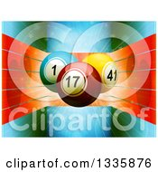 Clipart Of 3d Bingo Or Lottery Balls Over Red Lines On Blue Flares And Stars Royalty Free Vector Illustration