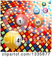 Clipart Of 3d Bingo Or Lottery Balls Over Lights And Colorful Tiles Royalty Free Vector Illustration