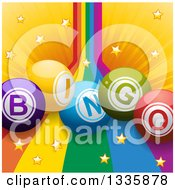 Clipart Of 3d Bingo Balls Over A Rainbow And Star Burst Royalty Free Vector Illustration