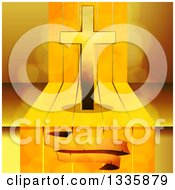3d Gold Cross With An Aged Blank Banner Over Steps And Flares