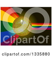 Clipart Of A 3d Gold Disco Ball Over A Rainbow Cuve On Black Royalty Free Vector Illustration
