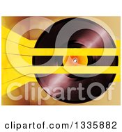 Clipart Of A 3d Music Vinyl Record With Yellow Lines Over Flares Royalty Free Vector Illustration by elaineitalia