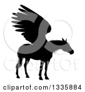 Clipart Of A Black Silhouetted Winged Pegasus Horse Royalty Free Vector Illustration by AtStockIllustration