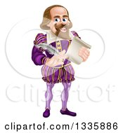 Cartoon Full Length Happy William Shakespeare Holding A Scroll And Quill