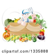 Clipart Of A Young Brunette White Male Gardener In Blue Holding Up A Garden Fork And Giving A Thumb Up Over A Blank Wood Sign With Produce Royalty Free Vector Illustration