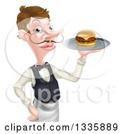 Cartoon Caucasian Male Waiter With A Curling Mustache Holding A Burger On A Tray