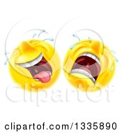 Clipart Of Cartoon Yellow Trajedy And Comedy Theater Emoji Emoticons Royalty Free Vector Illustration by AtStockIllustration