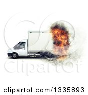 Clipart Of A 3d Delivery Or Moving Van With A Fiery Speed Effect On White Royalty Free Illustration