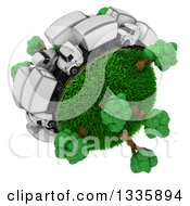 Clipart Of A 3d Busy Roadway With Big Rig Trucks Around A Grassy Planet With Trees On White Royalty Free Illustration