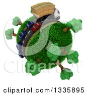 3d Roadway With A Big Rig Truck Transporting Boxes And Cars Driving Around A Grassy Planet With Trees On White