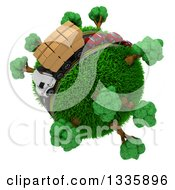3d Roadway With A Big Rig Truck Transporting Boxes And Cars Driving Around A Grassy Planet With Trees On White 2